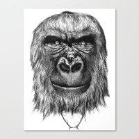 gorilla Canvas Prints featuring Gorilla  by Кaterina Кalinich