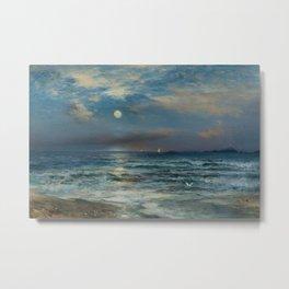Moonlit Beach Seascape No. 2 landscape painting by Thomas Moran Metal Print