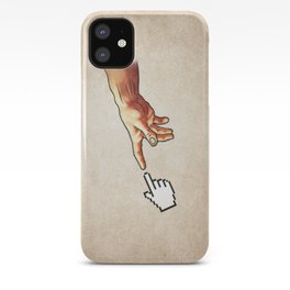 Funny 8bit Nerd & Geek Humor (Creation of Adam Parody) iPhone Case