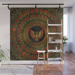 Gold and red Decorated Phoenix bird symbol Wall Mural