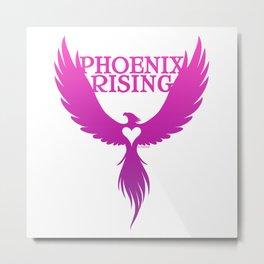 PHOENIX RISING purple with heart center Metal Print