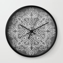 Mandala Vintage White on Ocean Fog Gray Wall Clock