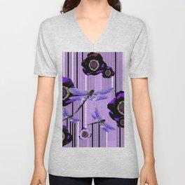 PURPLE DRAGONFLIES & BLACK POPPY FLOWERS ART Unisex V-Neck