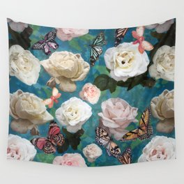 White Roses and Butterflies Wall Tapestry