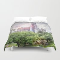 central park Duvet Covers featuring Central Park Dreams by MikeMartelli