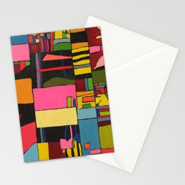 Colors in Collision 2 - Geometric Abstract in Blue Yellow Pink and Green Stationery Cards