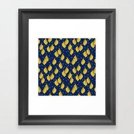 Lemons minimal triangles fruit citrus lemon pattern by andrea lauren Framed Art Print