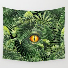 Watercolor dinosaur eye and prehistoric plants Wall Tapestry