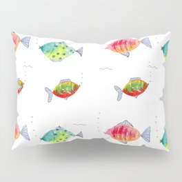 Whimsical fishes watercolor pattern Pillow Sham