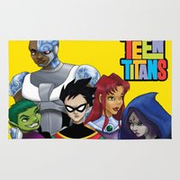 teen titans Area & Throw Rugs featuring Teen Titans by Paige Thulin