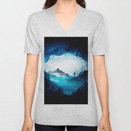 Figure Silhouette Blue Misty Mountains Unisex V-Neck