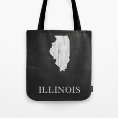 Illinois State Map Chalk Drawing Tote Bag