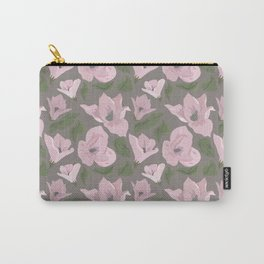 Floral seamless pattern magnolia on grey background Carry-All Pouch