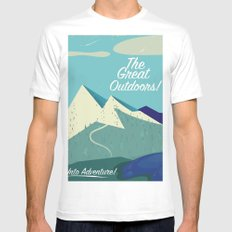 The Great Outdoors! White MEDIUM Mens Fitted Tee