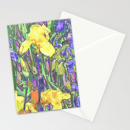Blue & Yellow Iris Garden - Abstract Stationery Cards