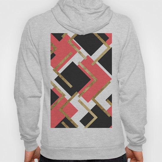 Chic Coral Pink Black and Gold Square Geometric by blackstrawberry