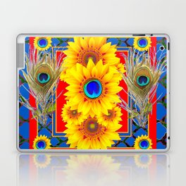 RED-BLUE PEACOCK JEWELED SUNFLOWERS DECO ABSTRACT Laptop & iPad Skin