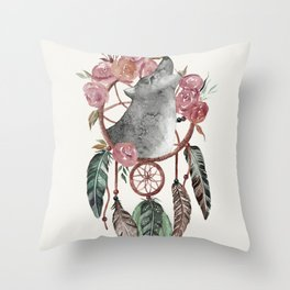 Wolf Dream Catcher Throw Pillow