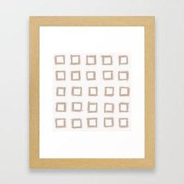 Square Stroke Dots Nude on White Framed Art Print