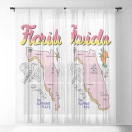 Florida Map Sheer Curtain