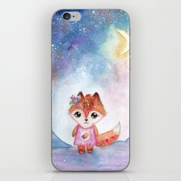 Red Fox at Night Illustration iPhone Skin