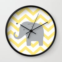 baby elephant Wall Clocks featuring Baby Elephant by Janelle Krupa