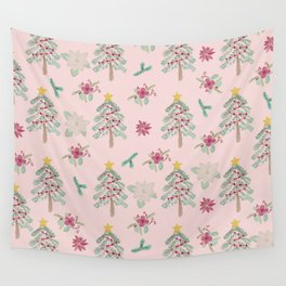 Christmas Pattern Pink Wall Tapestry