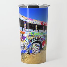 Colorful pop art graffiti painted magical old school bus Travel Mug
