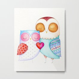 Love Birds - One Heart - Owl Couple Metal Print