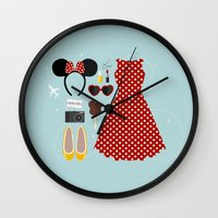 minnie mouse Wall Clocks featuring Minnie Mouse Flatlay by laurenschroer