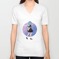 vocaloid V-neck T-shirts featuring Aoki Lapis - VOCALOID Gakuen by Tenki Incorporated