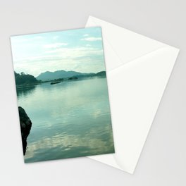 Mekong River Mountains Landscape Sky Reflection Water Stationery Cards