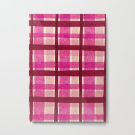Tissue Paper Plaid - Pink Metal Print