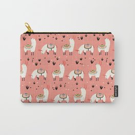 White Llamas in a pink desert Carry-All Pouch