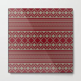 Knitted sweater pattern in red and beige Metal Print