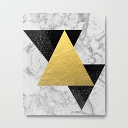Marble Tri Black & Gold - gold foil, gold, marble, black and white, trendy, luxe, gold phone Metal Print