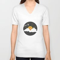 records V-neck T-shirts featuring Sunburst Records by Dianne Delahunty