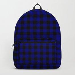 Navy Blue Buffalo Check Tartan Plaid - Blue and Black Backpack