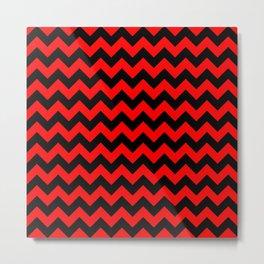 Large Red Devil and Black Halloween Chevron Zigzag Stripes Metal Print