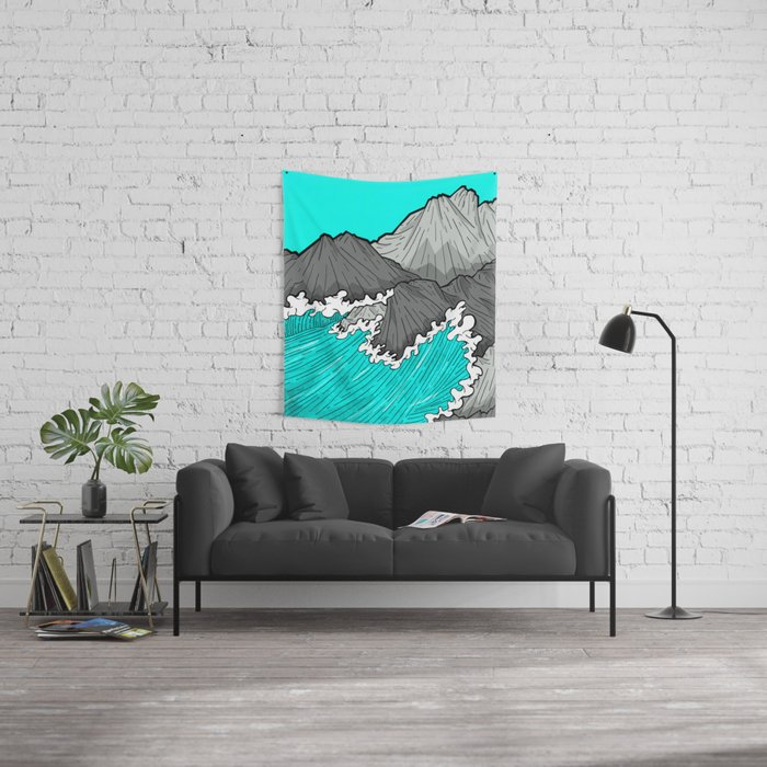 The Rocks And The Sea Wall Tapestry