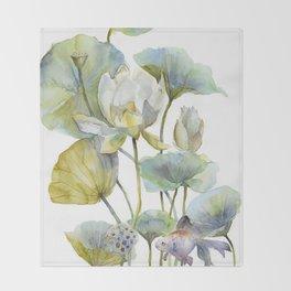 Lotus Plant and Fish Zen Design Watercolor Muted Pallet Botanical Art Throw Blanket