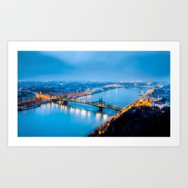 World Famous Szabadság Híd Liberty Bridge Danube River Budapest Hungary Nightlife Ultra HD Art Print