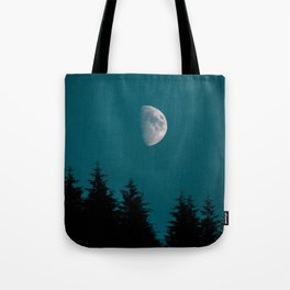 Gibbous Moon Over Pine Tree Silhouette Blue Sky Nature At Night Tote Bag