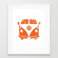 vw bus Framed Art Prints featuring VW Bus by Burnish and Press
