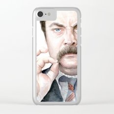 Swanson Mustache Clear iPhone Case