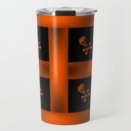 Orange Skull Pattern Travel Mug