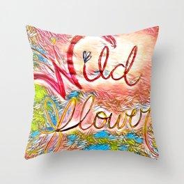 Pink Pastel Wildflower Throw Pillow