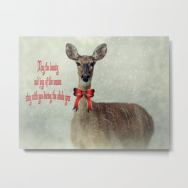Christmas Deer Holiday Greetings Metal Print