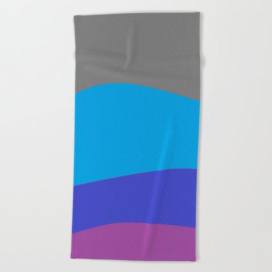 Gray Blue Purple Waves Beach Towel