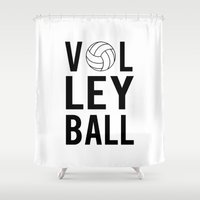 volleyball Shower Curtains featuring Volleyball (black) by raineon